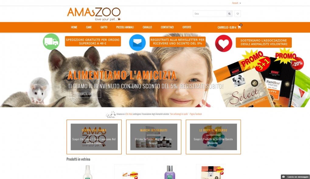 e-commerce per Amazoo: cibo e accessori per animali